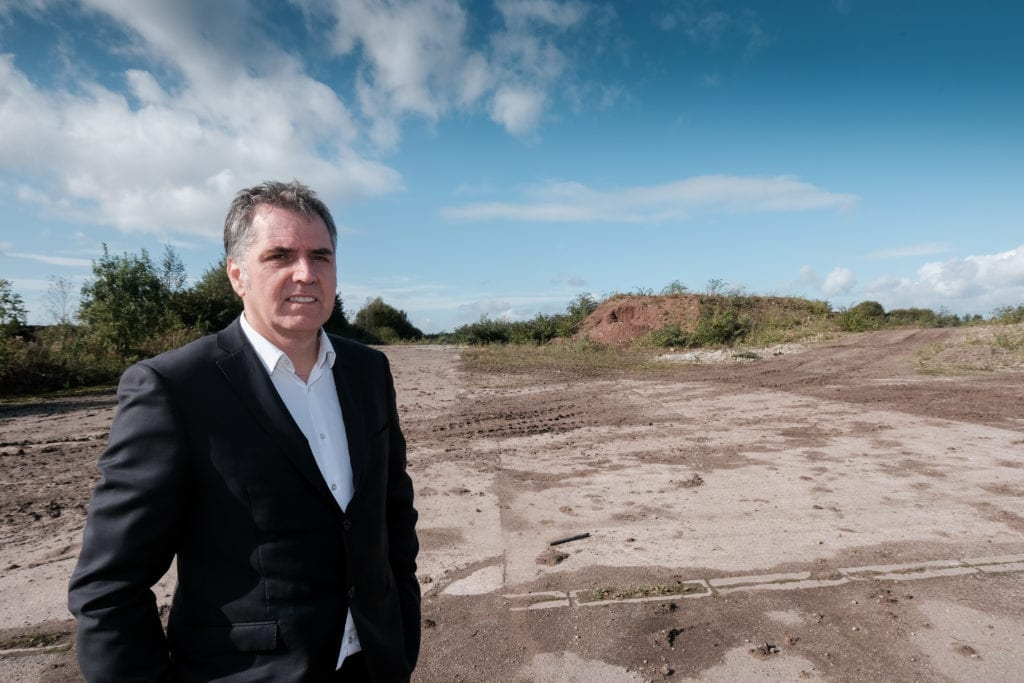Steve Rotheram at the Moss Nook brownfield site in St-Helens